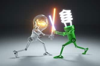 two light bulbs fighting scene